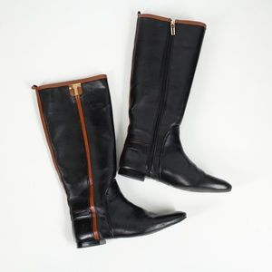 Tory Burch Black and Brown Riding Boots Size 9